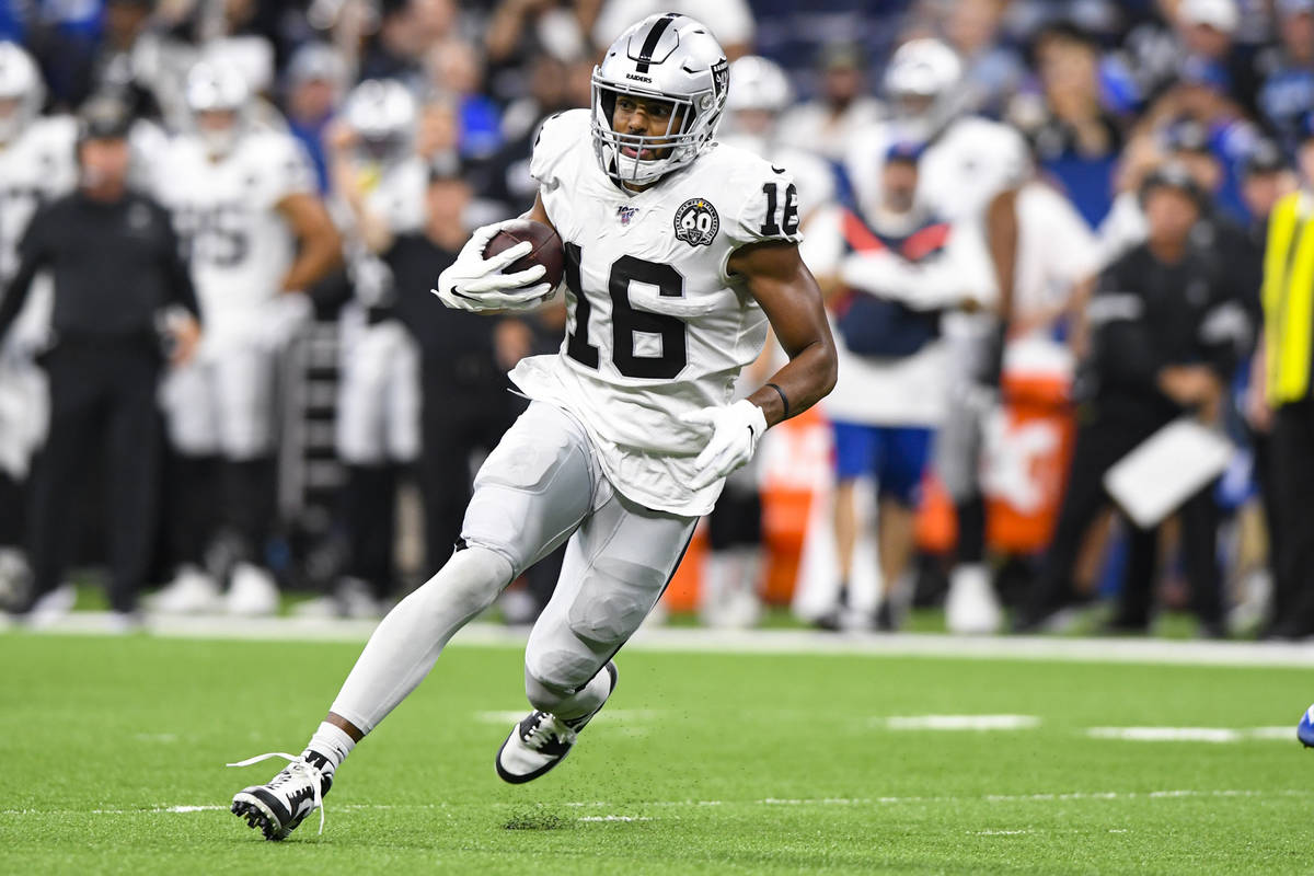 Oakland Raiders wide receiver Tyrell Williams (16) runs against the Indianapolis Colts during t ...