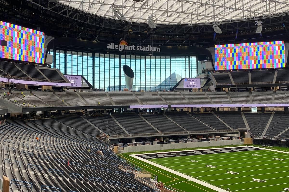 Crews test out various video boards inside Allegiant Stadium on June 23, 2020. (Courtesy Las Ve ...