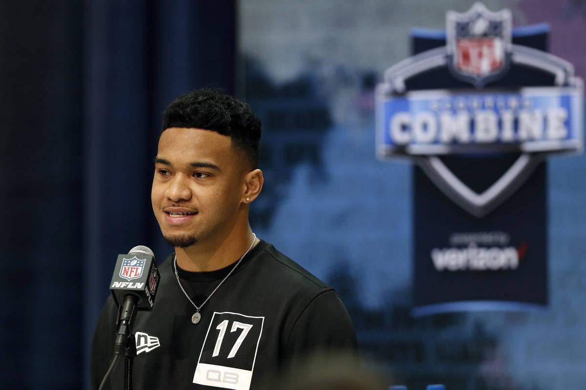FILE - In this Feb. 25, 2020, file photo, Alabama quarterback Tua Tagovailoa speaks during a pr ...