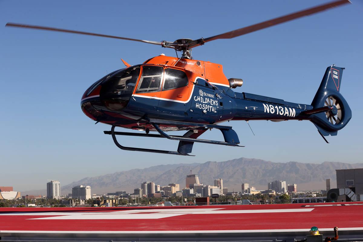 Las Vegas Review-Journal columnist John Katsilometes and Piff the Magic Dragon land in a helico ...