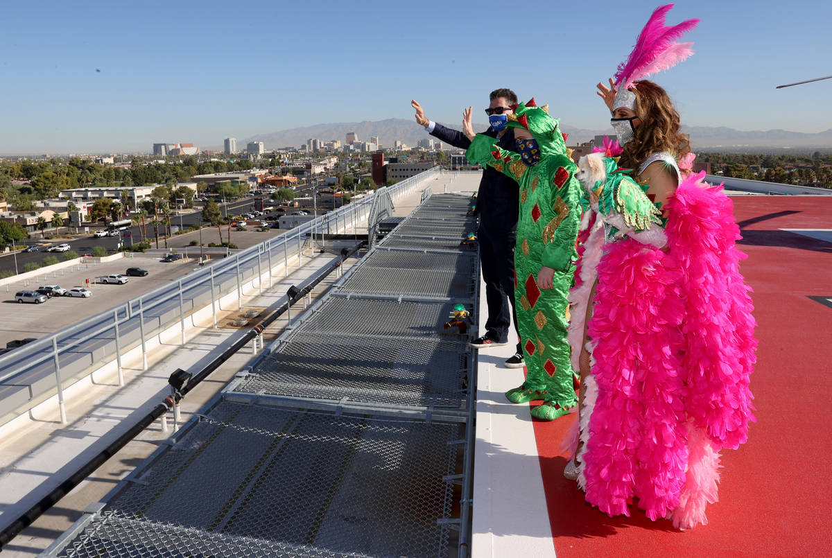 Jade Simone, Mr Piffles, Piff the Magic Dragon and Las Vegas Review-Journal columnist John Kats ...