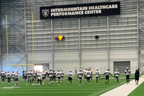 The Las Vegas Raiders practice during NFL training camp at Intermountain Healthcare Performance ...