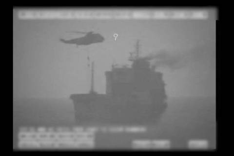 In this image made from video released by the U.S. military's Central Command, Iranian commando ...