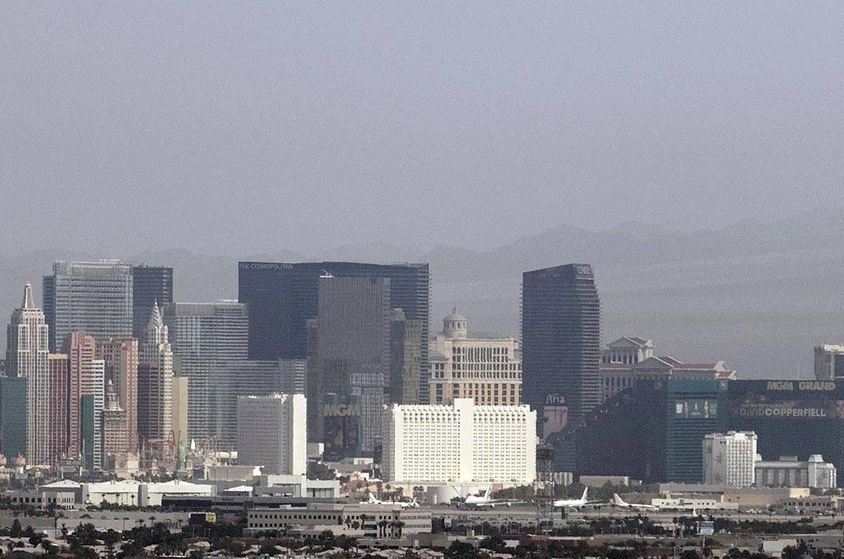 A haze hangs over the Strip as seen from Henderson on Thursday, Aug. 13, 2020, in Las Vegas. Sm ...