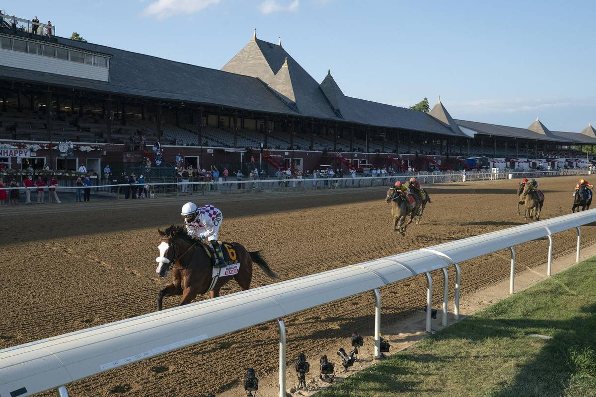 Tiz the Law (6), with Manny Franco up, wins the Travers Stakes horse race at Saratoga, Saturday ...