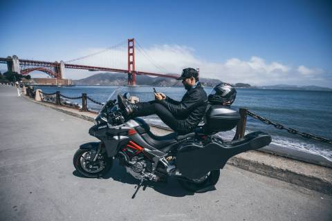 """Las Vegas singer/songwriter Franky Perez is shown at the Golden Gate Bridge on his """"Crossing th ..."""