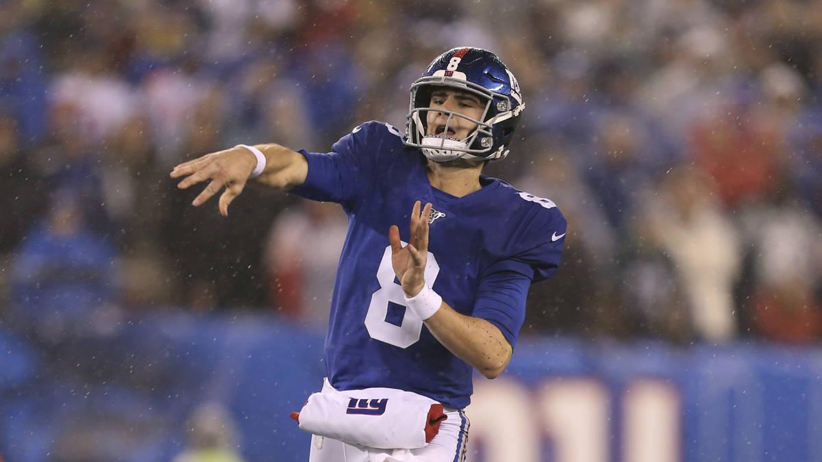 New York Giants quarterback Daniel Jones (8) during an NFL football game against the Philadelph ...