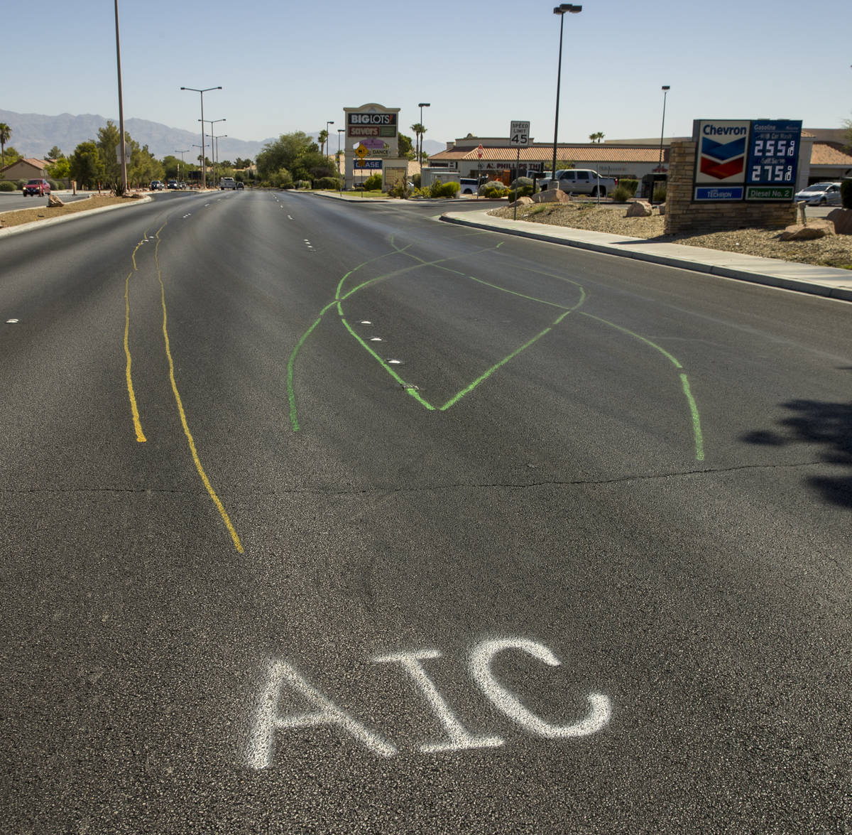 Accident scene markings visible near Rampart and Lake Mead boulevards on Tuesday, July 14, 2020 ...