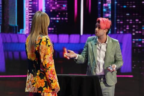 "Las Vegas performer Brett Loudermilk is shown with ""America's Got Talent"" judge Heidi Klum on t ..."