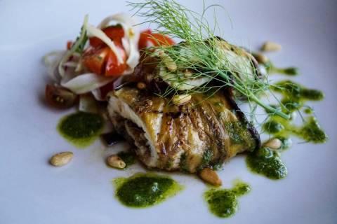 Swordfish and eggplant roulade at Pizzeria Monzu. (Pizzeria Monzu)