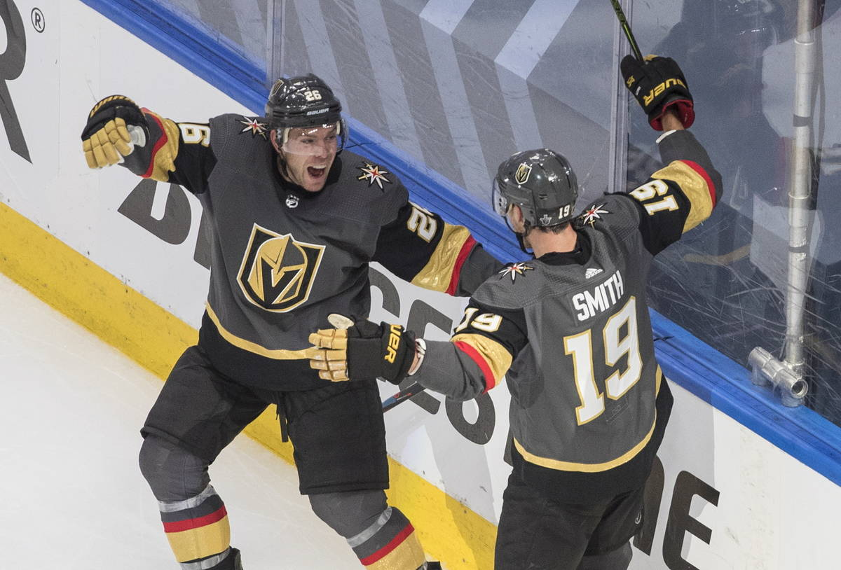 Vegas Golden Knights' Paul Stastny (26) and Reilly Smith (19) celebrate a goal against the Chic ...