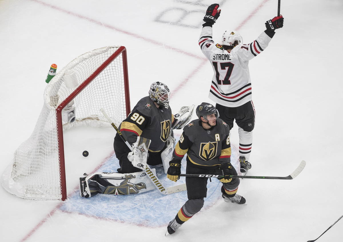 Vegas Golden Knights goalie Robin Lehner (90) is scored on as Chicago Blackhawks' Dylan Strome ...