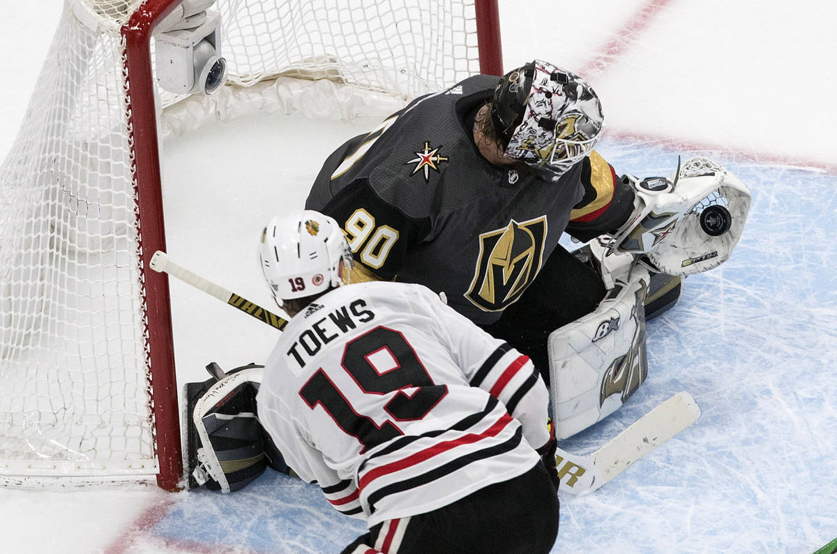 Vegas Golden Knights goalie Robin Lehner (90) makes the save on Chicago Blackhawks' Jonathan To ...