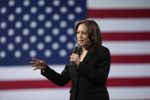 Sen. Kamala Harris, D-Calif., speaks in Las Vegas in April 2019. (Benjamin Hager/Las Vegas Revi ...