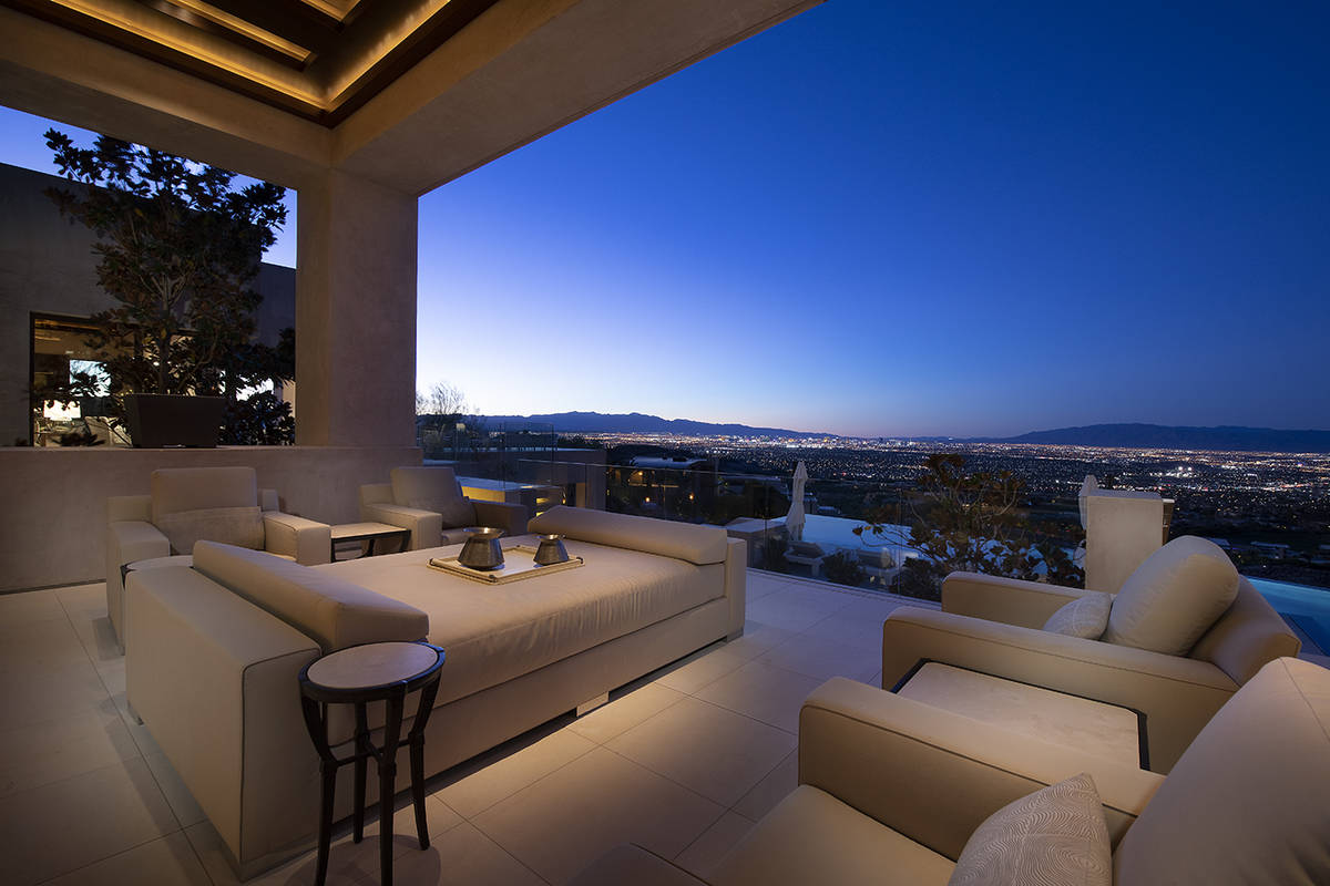 The balcony has views of the Strip. (Synergy Sotheby's International Realty)