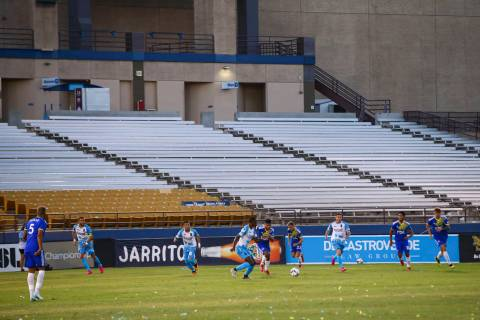 Las Vegas Lights FC play Reno 1868 FC with a backdrop of empty seats and no fans during the fir ...
