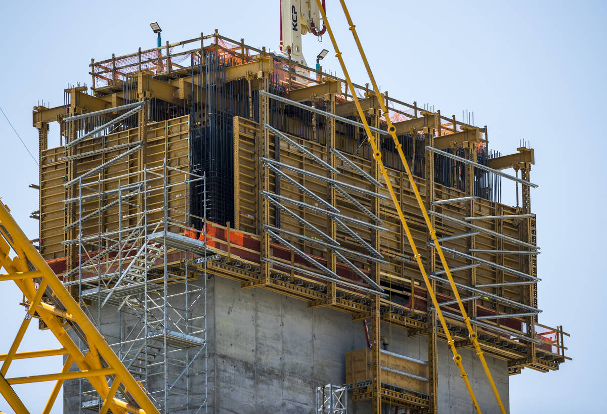 The MSG Sphere at The Venetian construction site remains dormant on Friday, Aug. 14, 2020, in ...