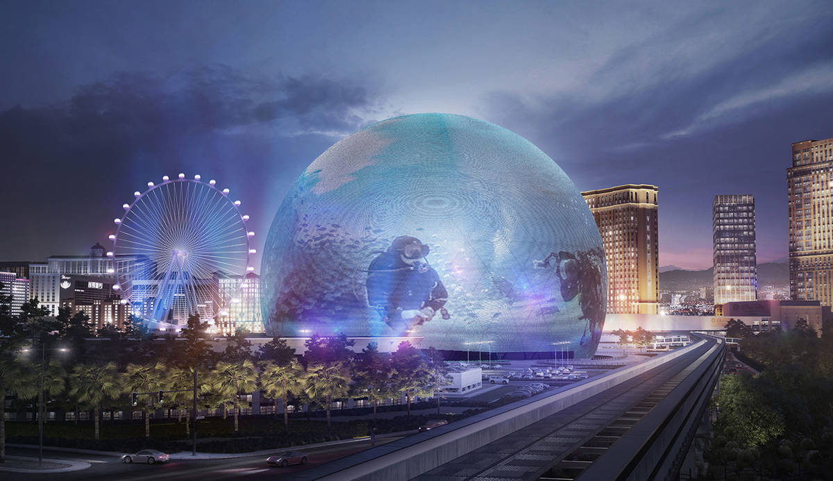 An exterior rendering of MSG Sphere at The Venetian. The state-of-the-art venue, which will be ...