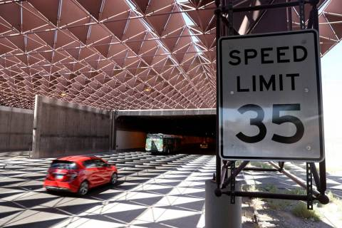 A speed limit sign leading into the airport connector tunnel at McCarran International Airport ...
