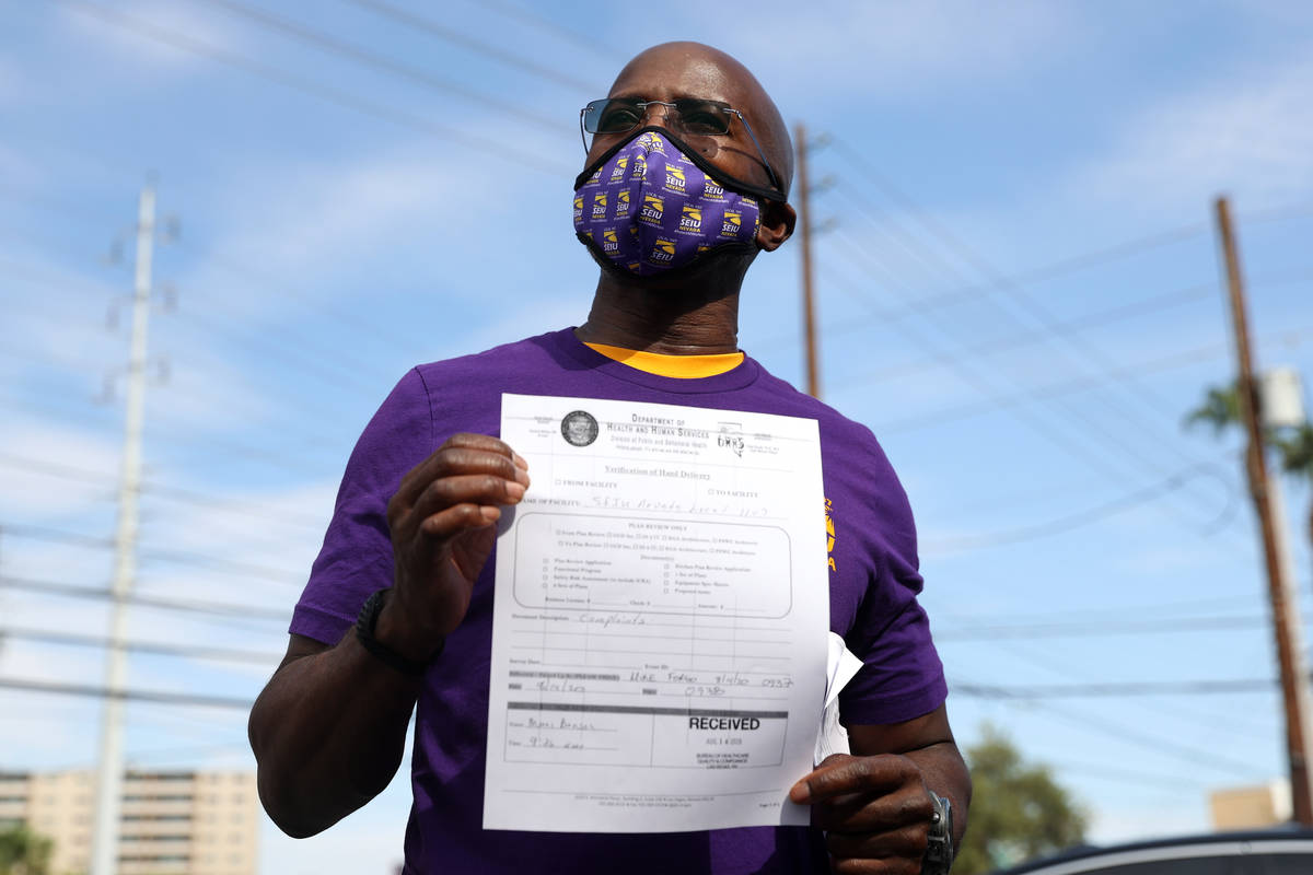 SEIU Local 1107 HCA healthcare worker Mike Forson speaks after delivering over 400 Assignment D ...