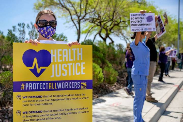 Local SEIU 1107 members honor other frontline health care workers and list demands for more pro ...