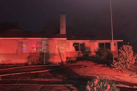 A home is damaged after a fire Saturday, Aug. 15, 2020, on the 1800 block of East Eldorado Lane ...