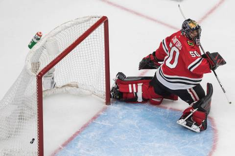 Chicago Blackhawks goalie Corey Crawford gives up a goal to the Vegas Golden Knights during the ...
