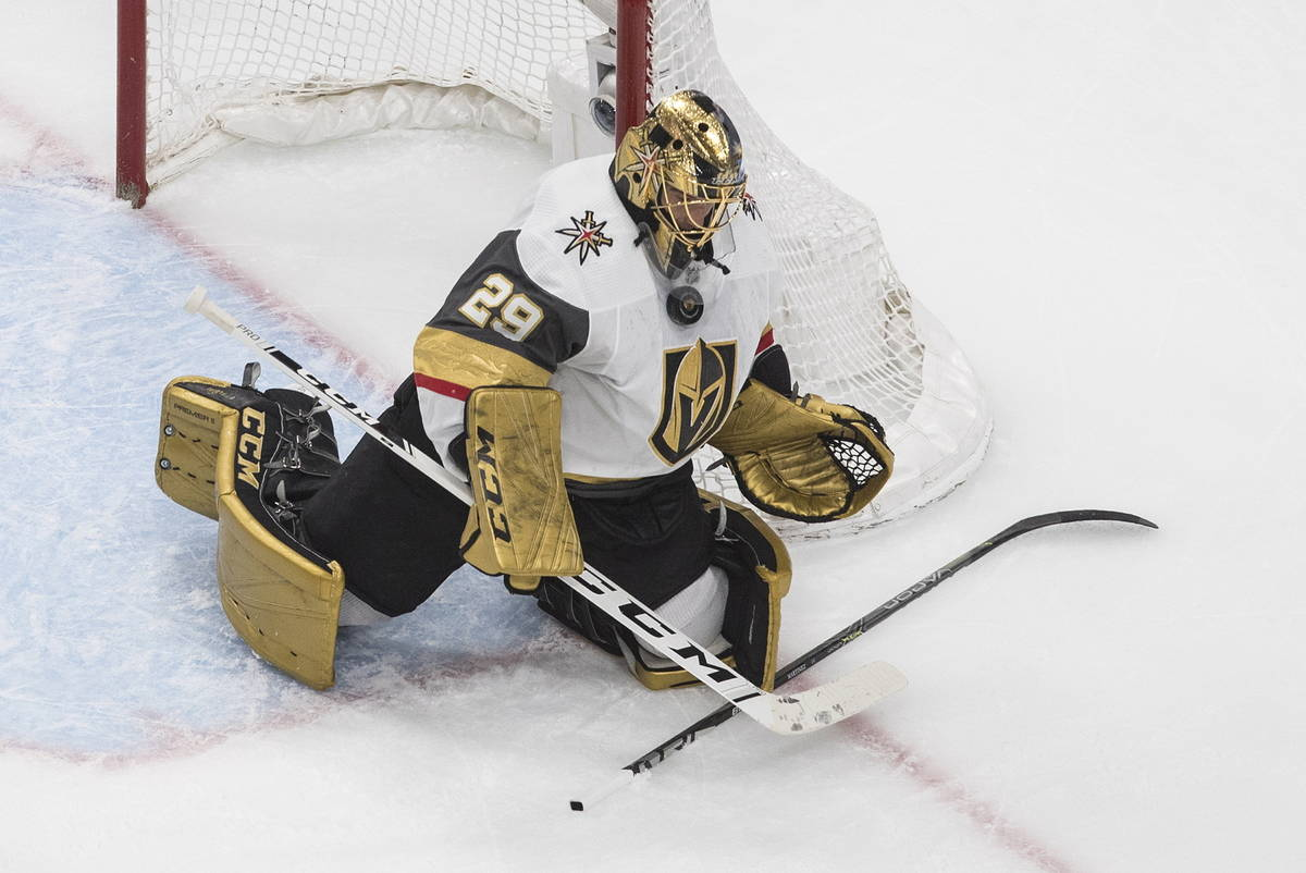 Vegas Golden Knights goalie Marc-Andre Fleury makes a save against the Chicago Blackhawks durin ...