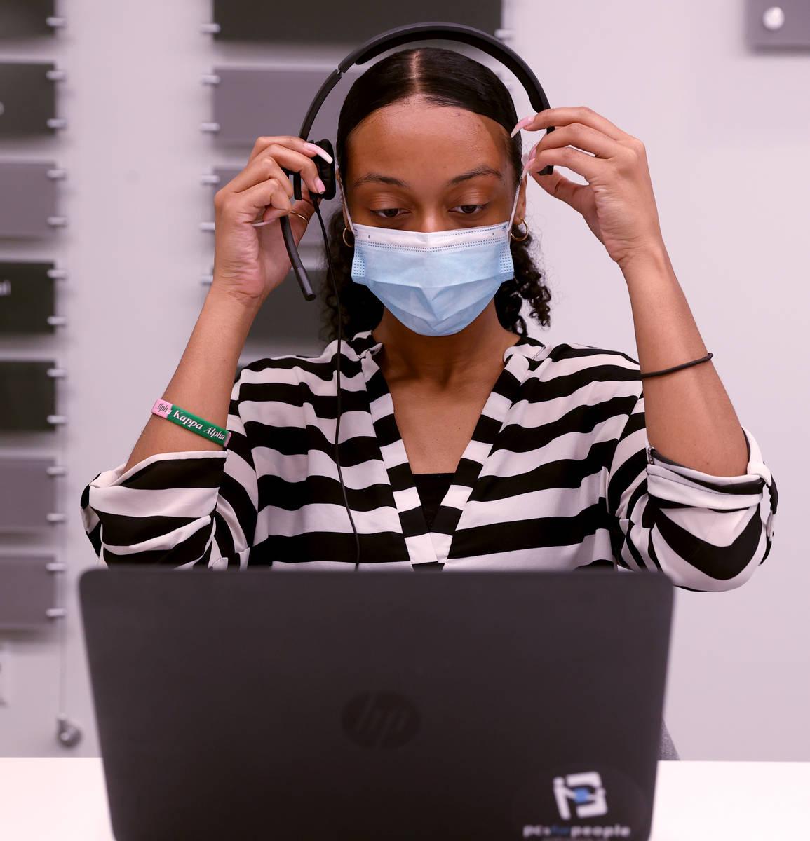 UNLV School of Public Health student Alanna Johnson works on COVID-19 contract tracing Thursday ...