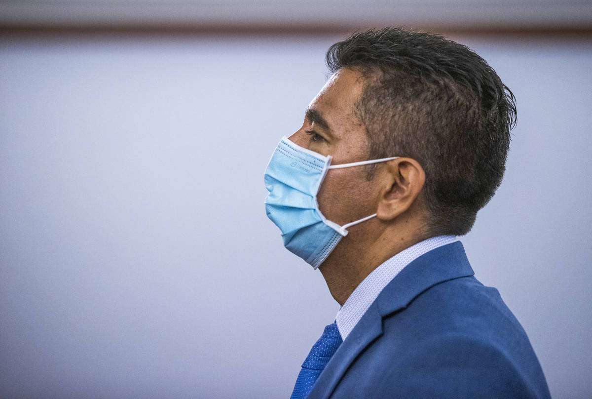 Defendant Adolfo Orozco leaves the courtroom with during a preliminary hearing for the Alpine f ...