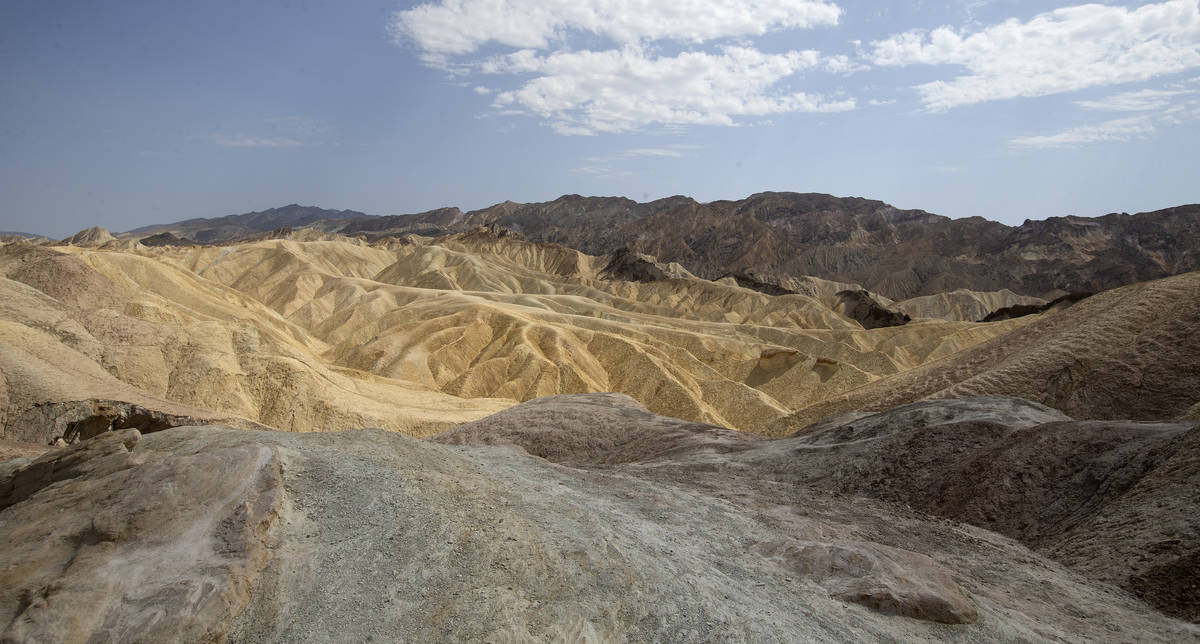 Zabriskie Point at Death Valley National Park in California, where temperatures reached 127 deg ...