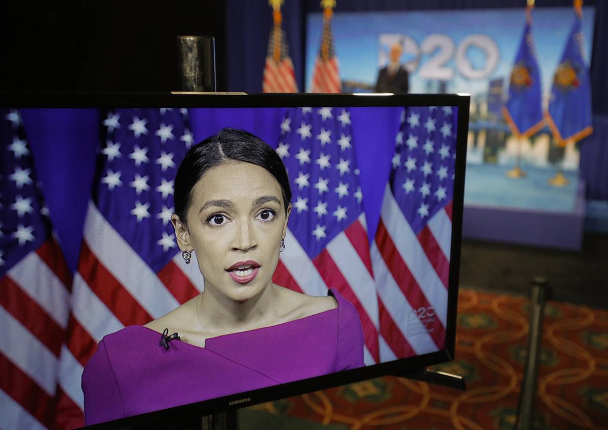 Rep. Alexandria Ocasio-Cortez, D-N.Y., seconds the nomination of Democratic presidential candid ...