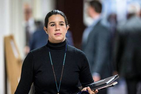 Sen. Yvanna Cancela, D-Nev., walks to the Senate Chamber during the second day of the Nevada Le ...