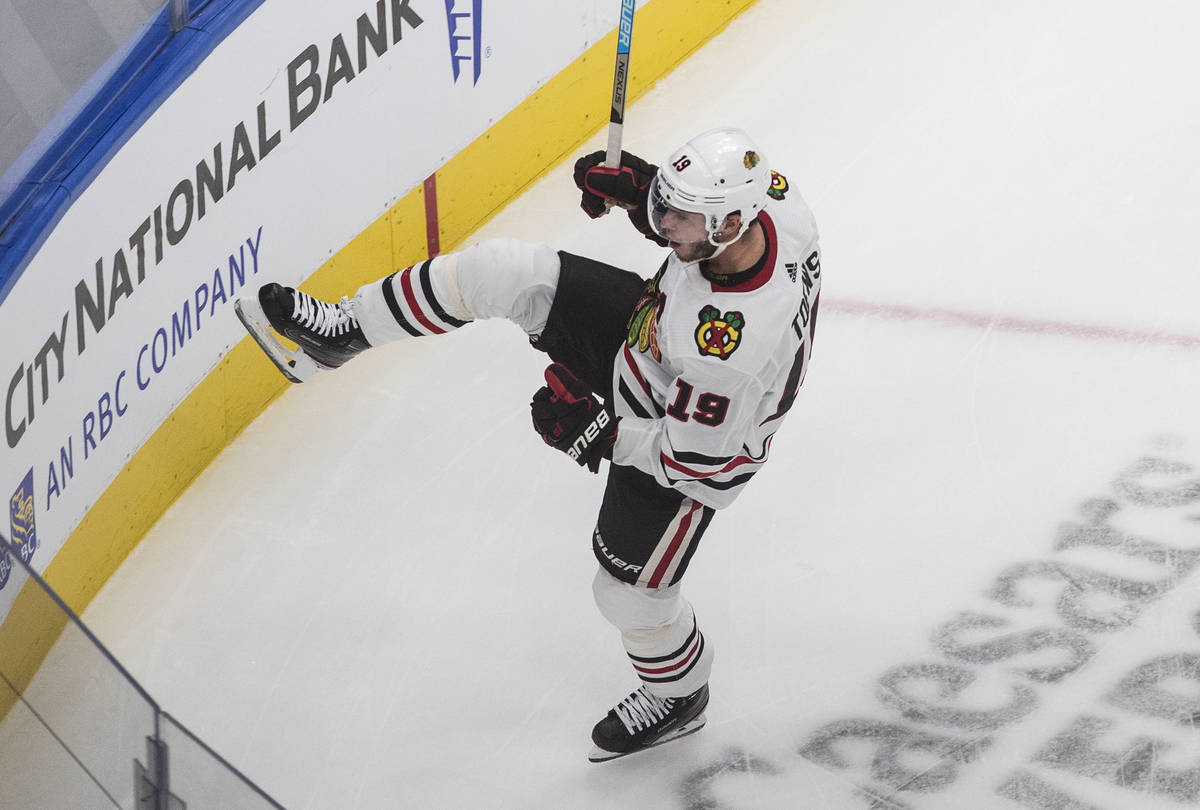 Chicago Blackhawks' Jonathan Toews celebrates a goal against the Vegas Golden Knights during th ...