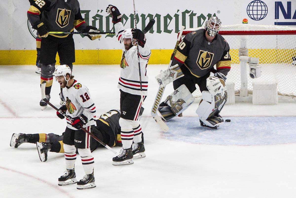 Vegas Golden Knights goalie Robin Lehner (90) reacts to being scored on as Chicago Blackhawks' ...