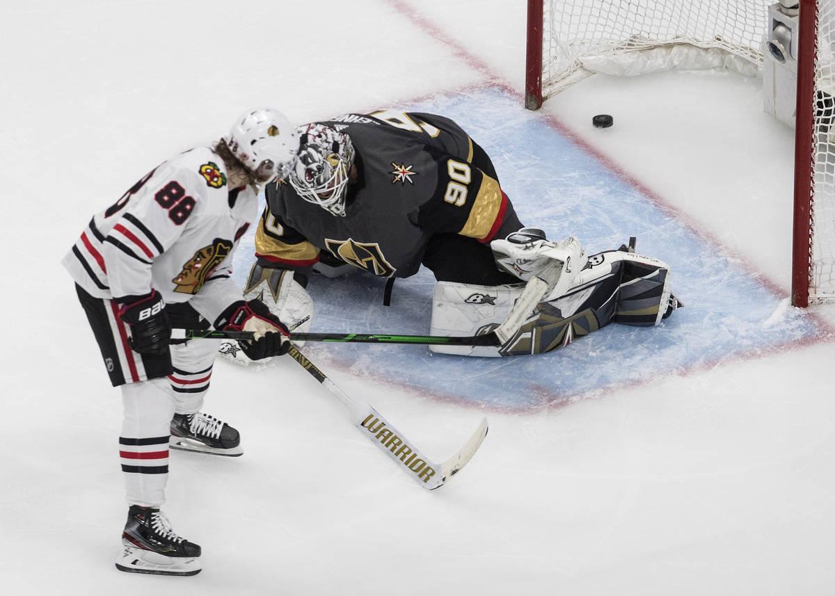 Vegas Golden Knights goalie Robin Lehner gives up a goal to Chicago Blackhawks' Patrick Kane (8 ...