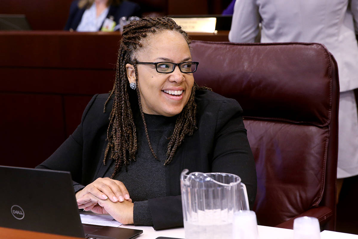 FILE--Assemblywoman Dina Neal D-North Las Vegas, prepares for a joint meeting of the Senate Fin ...
