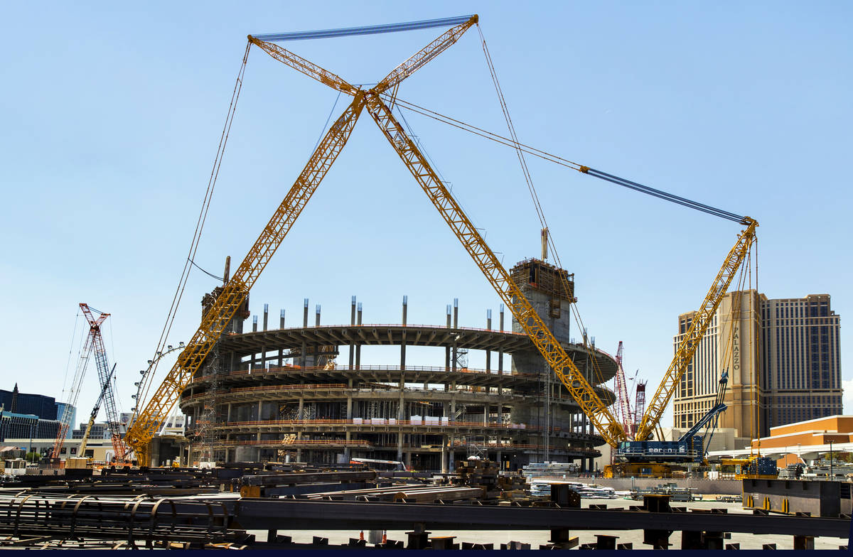 The MSG Sphere at The Venetian construction site remains dormant on Aug. 14, 2020, in Las Vega ...