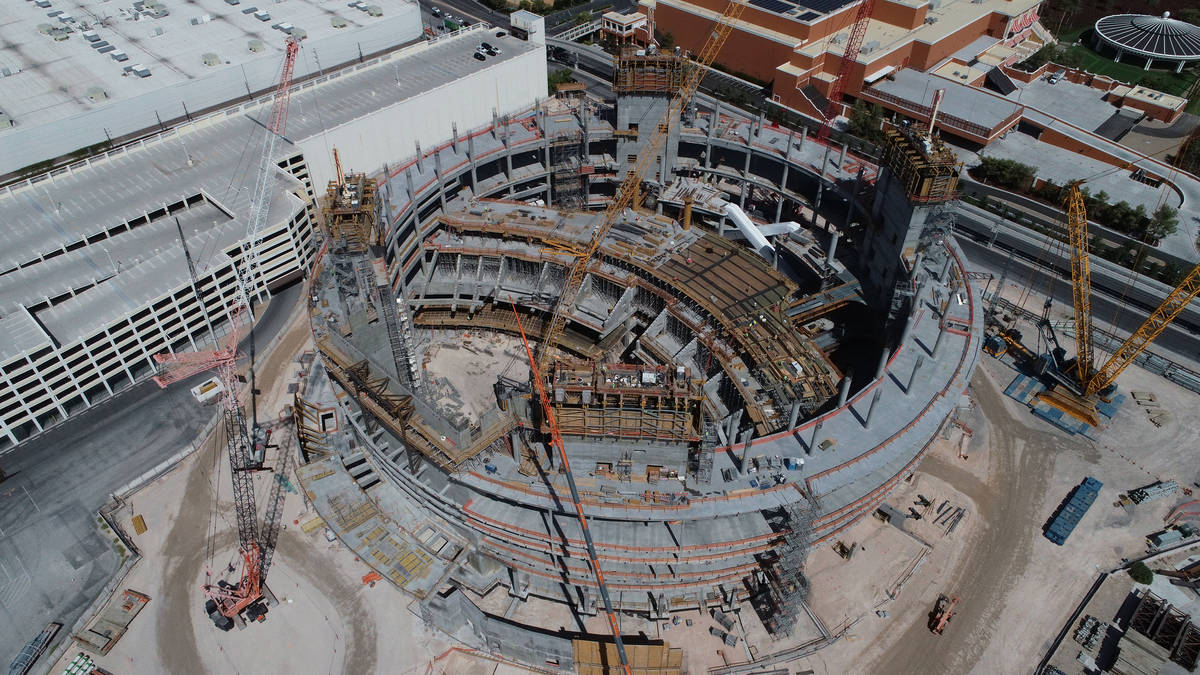 An aerial view of The MSG Sphere at The Venetian shows the base of the structure, the venue's s ...