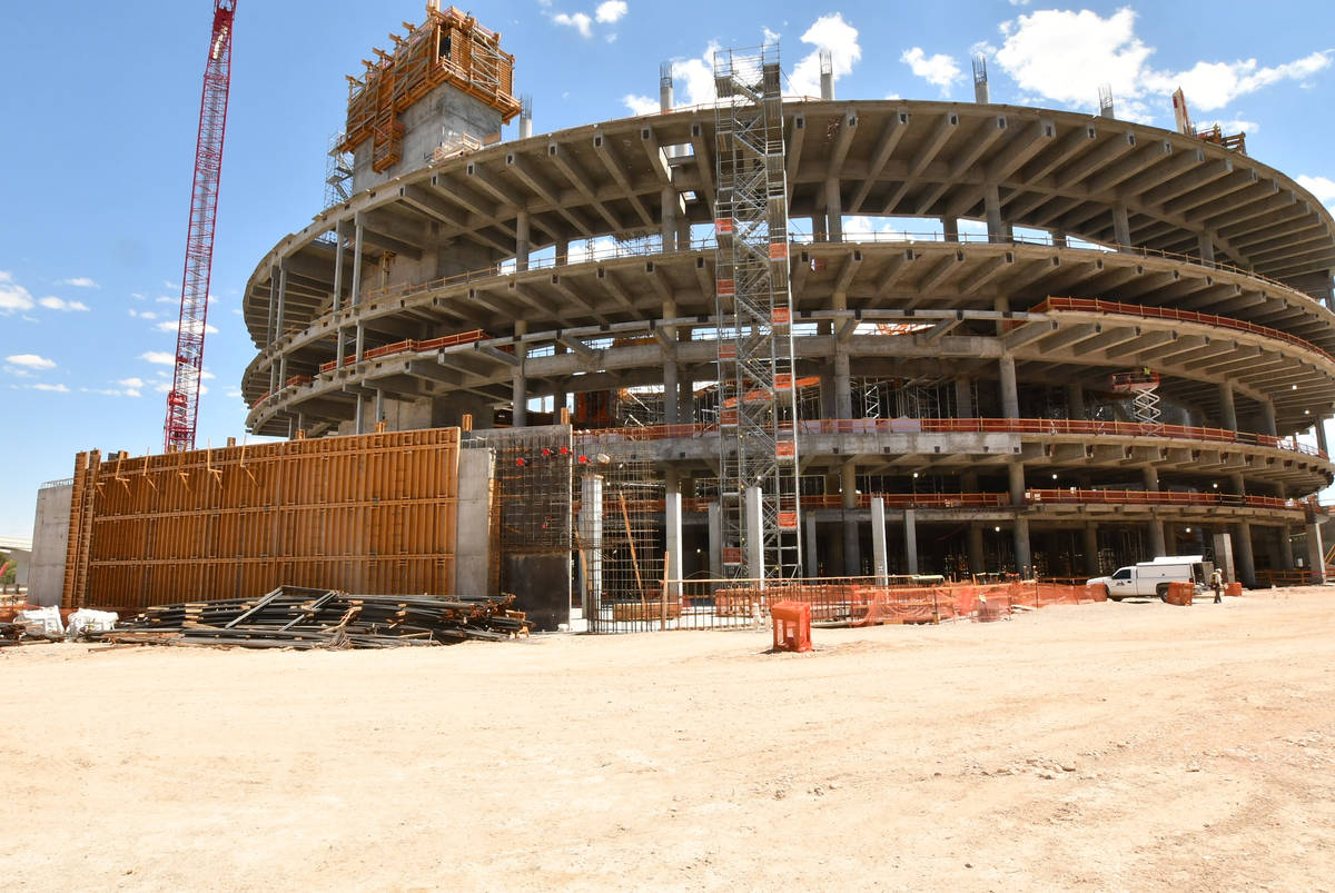 Several levels of The MSG Sphere at The Venetian are visible at the construction site just east ...
