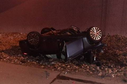 One person was pronounced deceased after a rollover crash on Interstate 215 at Valle Verde. (NHP)