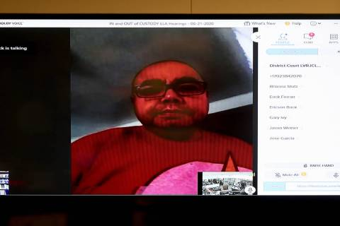 Security guard Jose Dejesus Garcia appears in court via video chat at the Regional Justice Cent ...