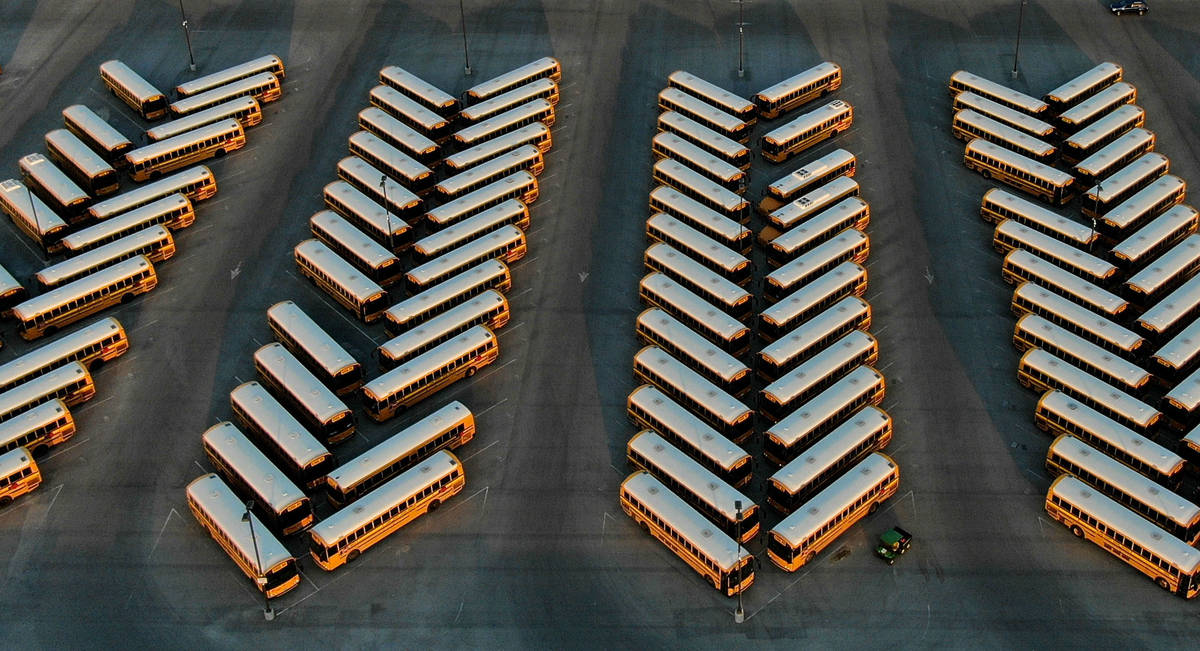 Buses lined up like chevrons at the Clark County School District bus yard at the CCSD Northwest ...