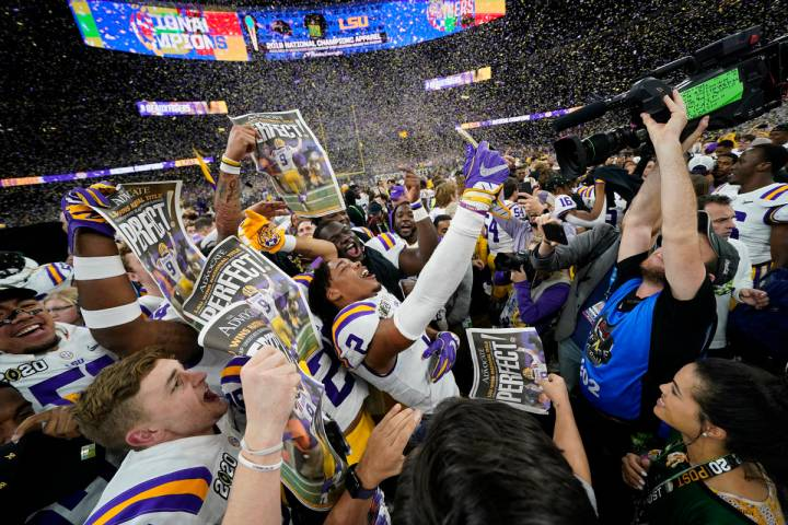 LSU celebrates after their win against Clemson in a NCAA College Football Playoff national cham ...