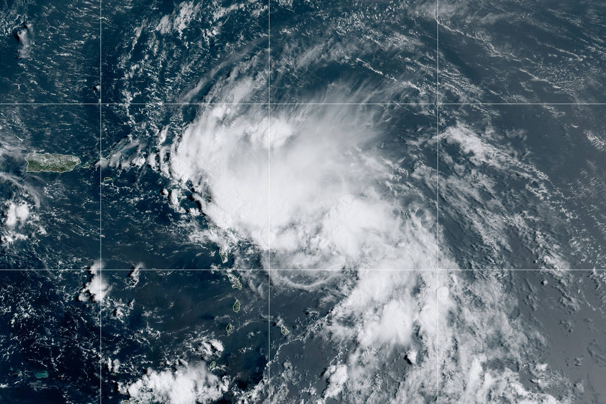 This satellite image released by the National Oceanic and Atmospheric Administration (NOAA) sho ...