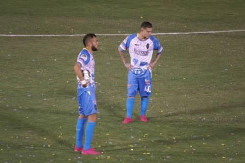 Las Vegas Lights midfielders Bryan de la Fuente (front) and Raul Mendiola (back) pause during t ...