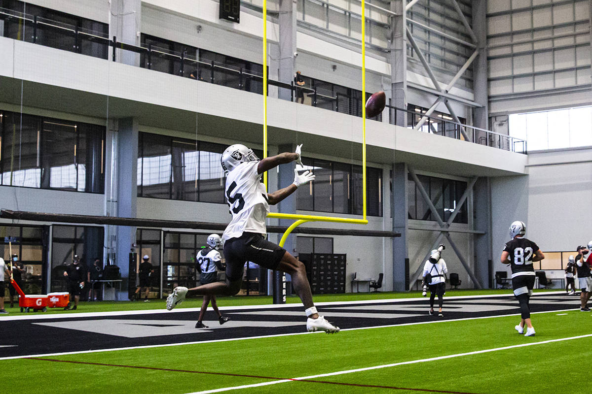 FILE--Las Vegas Raiders defensive back Ken Crawley (35) prepares to catch a ball during an NFL ...