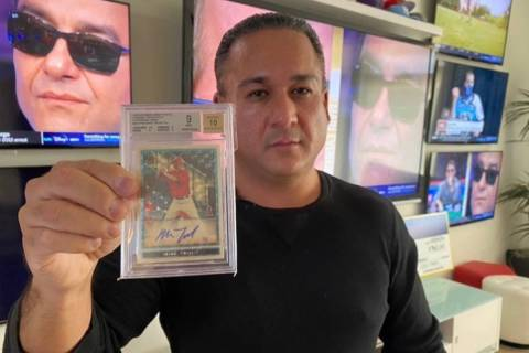 """Vegas Dave"" Oancea predicts his Mike Trout baseball card currently up for auction will fetch m ..."