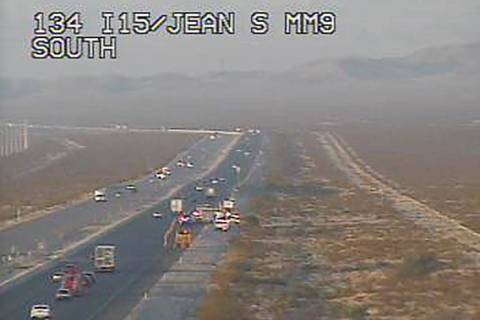 Traffic is slowed on southbound Interstate 15 near mile marker 7 between Jean and Primm about 6 ...