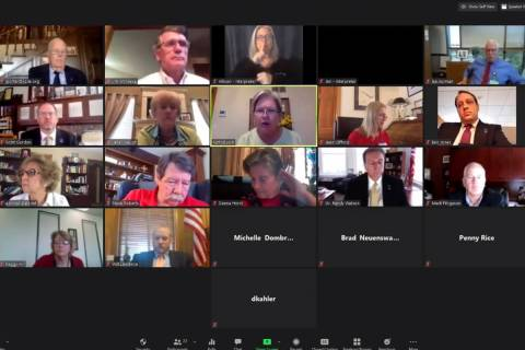 An Associated Press computer screen capture shows the Kansas State Board of Education meeting b ...
